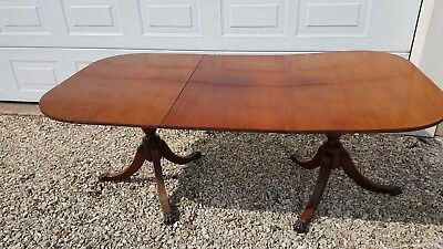 Large Xmas TableTwin Pedestal Antique Extending Leaf Mahogany Dining Room