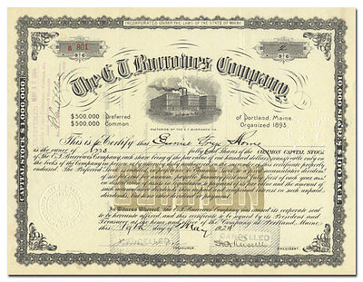 E. T. Burrowes Company Stock Certificate (Maine, Pool Table Maker)