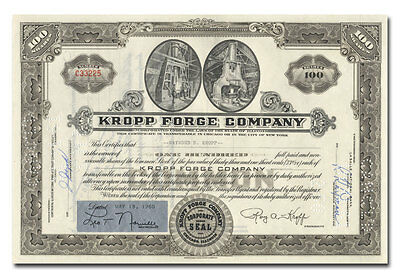 Kropp Forge Company Stock Certificate Issued to Raymond B. Kropp