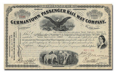 Germantown Passenger Rail Way Company Stock Certificate