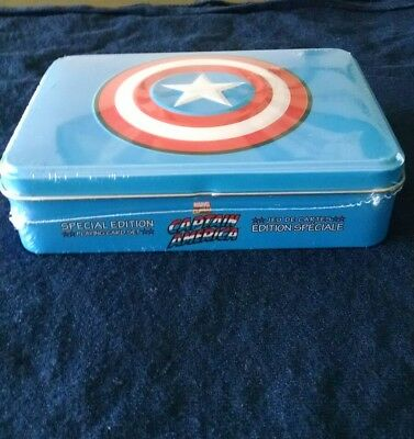 Marvel Comics CAPTAIN AMERICA Special Edition Playing Cards 2 Decks In Tin Case