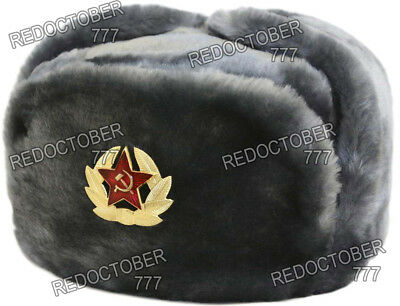 Authentic Russian Ushanka Gray Military Hat Soviet Red Army Star Badge 31bdcb2d851c