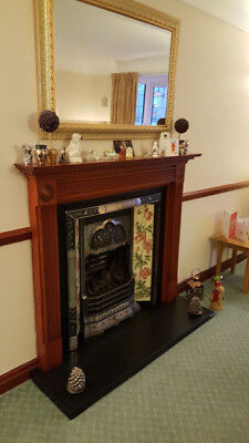 Victorian Style Tiled Cast Iron Fireplace & Wooden Surround with slate hearth