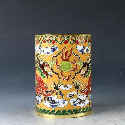 Chinese Cloisonne Hand Carved Dragon Brush Pot  PJ600