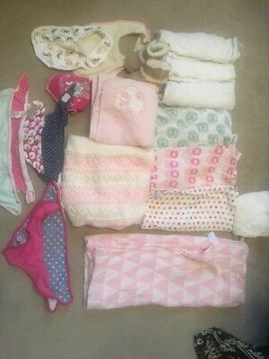 Muslin And Blanket Bundle Including Giant Muslin And Bibs