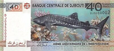 Banknote Djibouti 2017 40 Francs Unc Commemorative Note 40 Years Jubilee