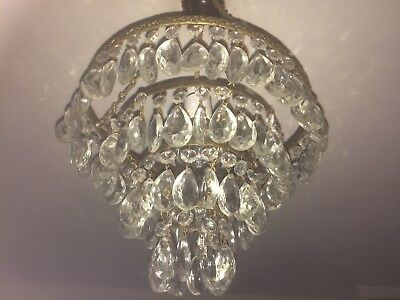 Stunning 1920s Four Tiered Crystal Chandelier