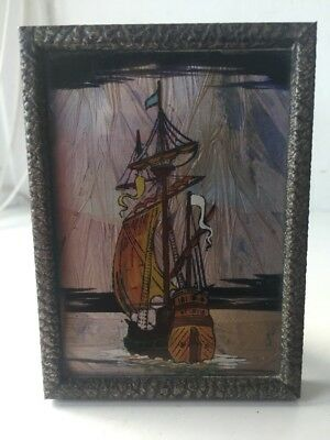 Antique Art Deco Butterfly Wing Boat Picture In Frame @ 1920