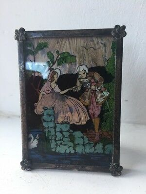 Antique Art Deco Butterfly Wing 'crinoline Lady' Framed Picture Signed