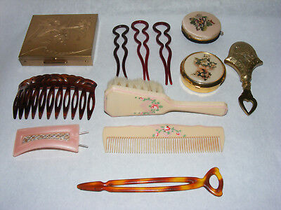 Lot Vintage Antique Compacts Hair Pins Combs Brushes Perfume Dabber Bakelite G1