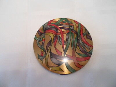 Rare vogue vanities vintage powder compact showing multicoloured ribbons