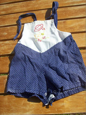 Vintage Romper Baby Toddler Outfit Blue White Polka Dots Duckies Cutler