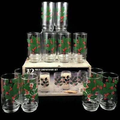 VTG EUC Set 12 Indiana Glass CHRISTMAS HOLLY 16 OZ Tumbler Coolers Original Box