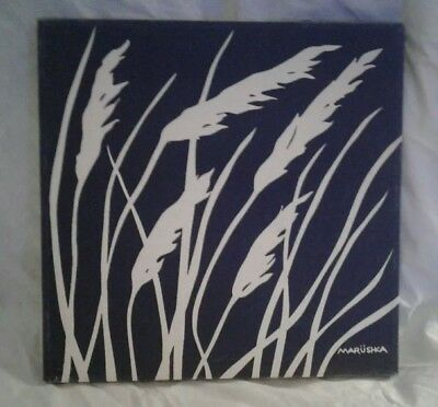 "Vintage Marushka Cream Grass Print on Blue Background 70's Marushka 13""x13"" 328B"