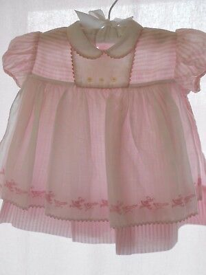 Vintage Baby Dress, Baby in the Carriage BY BO PEEP, Pinafore embroidered front