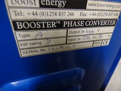 Rotary 3 phase converter 5.4hp / 8KW. by Boost Energy. 240v to 415v