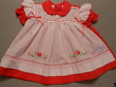 Vintage Baby Dress Cradle Togs Red & white Pinafore Style Ruffles & Flowers 9 mo