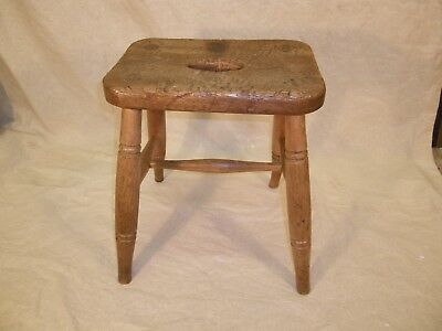 ANTIQUE RUSTIC ORNATE ELM and BEECH STOOL