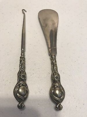 Ornate Sterling Silver Button Hook And Shoe Horn