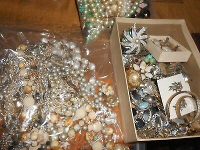 Vintage lot of costume jewelry junk drawer parts and pieces for re-purpose