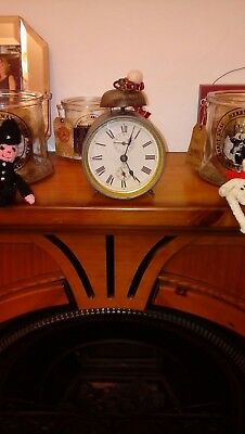 Vintage German alarm clock with bell on top. Made in Wurttemburg. FWO
