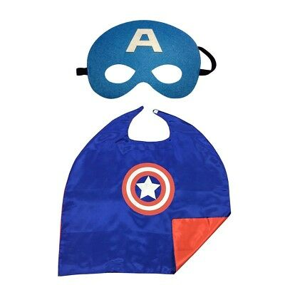 DC Comic Superhero Kids Cape and Mask Captain American Costumes Party Gift Xmas