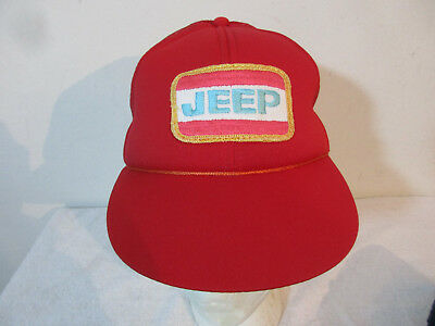 Vintage 80's 90's Youth Kids JEEP Red Snapback Truckers Hat w/ Tags