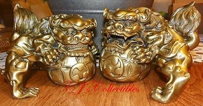 Fu Dog Temple Lions Keiloon Protection Prosperity Gold Resin Foo Dogs ∫42118
