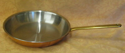 """High Quality Spring Swiss Made 10"""" Copper & Brass Handled Frying Pan"""