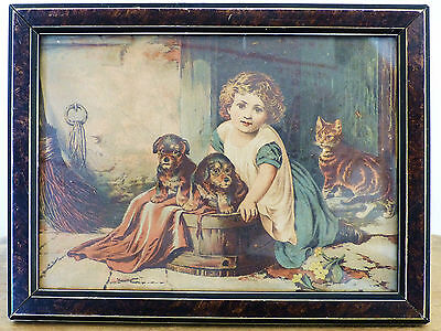 ANTIQUE 1880s Lithograph Girl Cat Kitten Puppies WOOD BACKED Framed Print