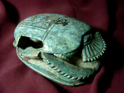 Ancient Egyptian Steatite Glazed blue scarab  Hiroglyphics