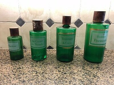 4 Green Pharmacy Medicine Antique French Bottles Acid Etched - 19Th Century