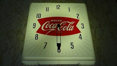 1950s 60s Vtg Coke Coca Cola Soda Pop Lighted Clock Sign Neon Products NPI