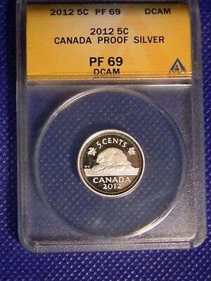 Three encapsulated Canada 2012 silver proof coins (5,10,25 cents)