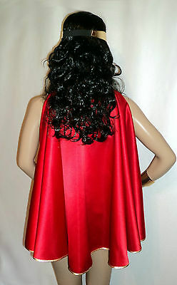 Wonder Woman Super Girl Hero Costume Red or Blue Satin Cape with Gold Trim
