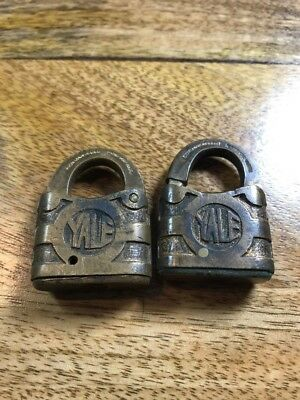 Pair Small Brass Yale Padlock Multiple Patent Dates Antique Collectible Hardware