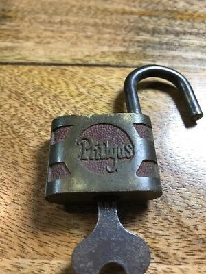 Philgas Gas Pump Padlock Phillips Petroleum With Working Key Antique