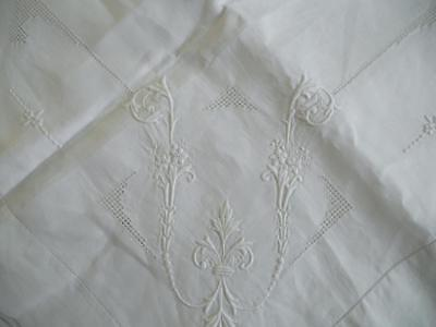 Superb Antique Irish Linen Tablecloth - Raised Hand Embroidered Whitework