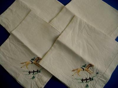 4 Vintage Raised Embroidered Irish Linen Napkins/Serviettes - Horses, Racing etc