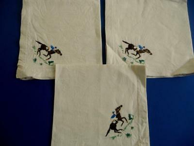 3 Vintage Raised Embroidered Irish Linen Napkins/Serviettes - Horses, Racing etc