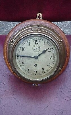 Antique 8 Day Brass + Oak Ships Bulkhead Clock GWO Serviced