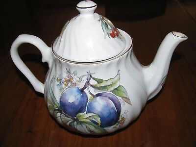 STAFFORDSHIRE COLLECTION Fine English China Cherries and Plum Tea Pot
