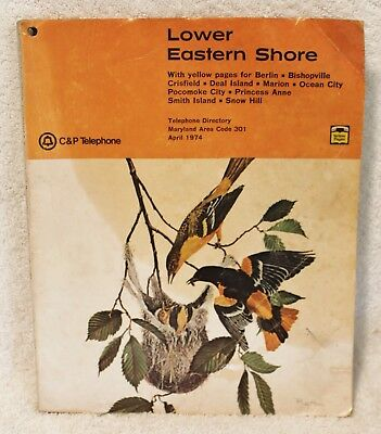 Vintage Lower Eastern Shore Telephone Directory Area Code 301 - April 1974
