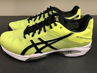 Asics Men's Gel-solution Speed 3 Tennis Shoe Safety Yellow/Black/White Size 9