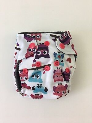 Newborn Baby Cloth Diaper 0-3 Month AIO Bamboo Double Gussets Pink White Owl NEW