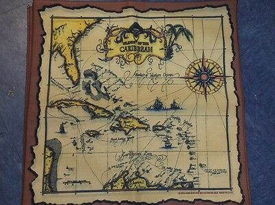 """Caribbean Map Bandanna MADE IN USA 21"""" SQUARE Overedged finish HAVE A HANK"""