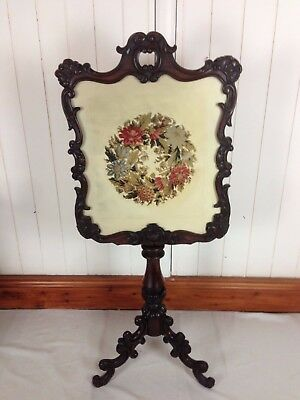 Victorian Rosewood Tapestry Firescreen