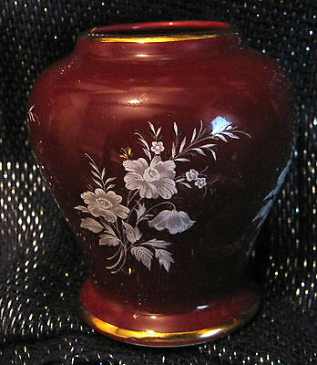 Pretty Prinknash Pottery vase with Floral design approx 3 ins tall