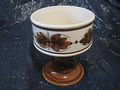 Fantastic Jersey Pottery stemmed bowl in brown & white approx 5¼ ins tall