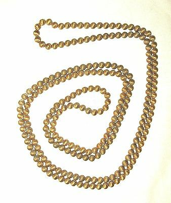 Vintage/Antique Heavy Solid Brass Beaded Flapper Rope Necklace - 60 Inches